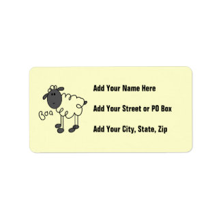 Stick Figure Sheep T-shirts and Gifts Label