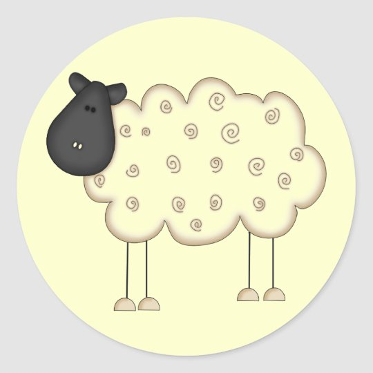 Stick Figure Sheep tshirts and Gifts Classic Round Sticker