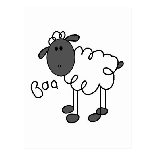 Stick Figure Sheep Tshirts and Gifts Postcard