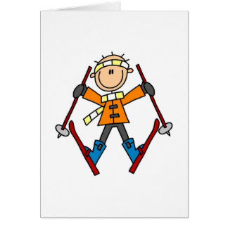 Stick Figure Skier T-shirts and Gifts Greeting Cards