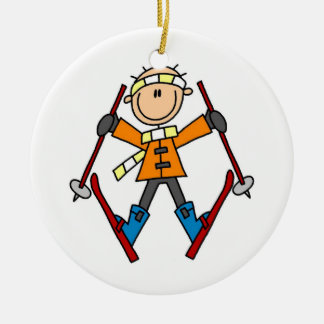 Stick Figure Skier T-shirts and Gifts Ceramic Ornament