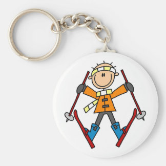 Stick Figure Skier T-shirts and Gifts Keychain