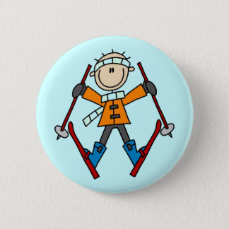 Stick Figure Skier T-shirts and Gifts Pinback Button