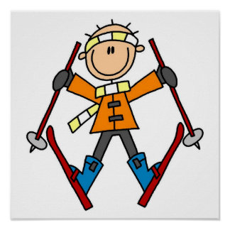 Stick Figure Skier T-shirts and Gifts Poster