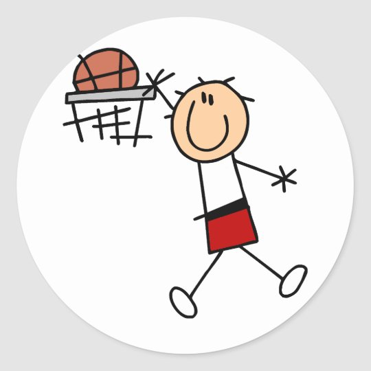 Stick Figure Slam Dunk T-shirts and Gifts Classic Round Sticker