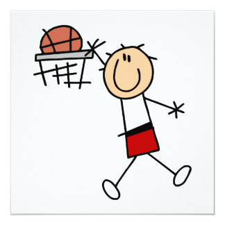 Stick Figure Slam Dunk T-shirts and Gifts 5.25x5.25 Square Paper Invitation Card