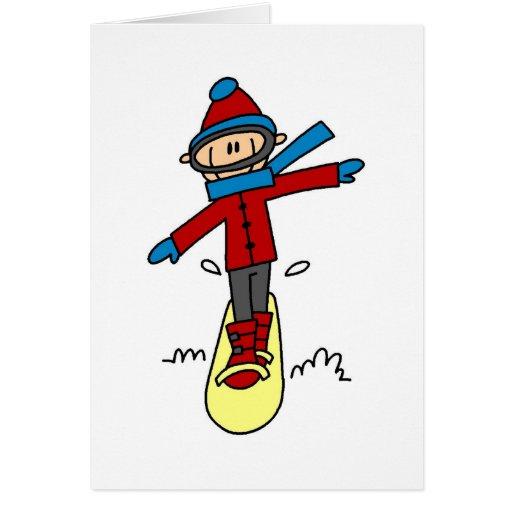 Stick Figure Snowboarding Greeting Card