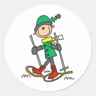 Stick Figure Snowshoeing Classic Round Sticker