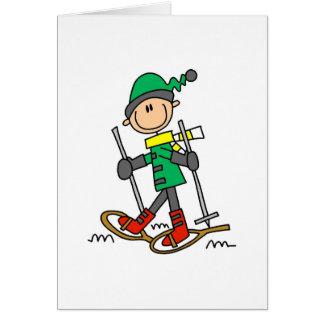 Stick Figure Snowshoeing Greeting Card
