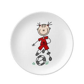 Stick Figure Soccer Red Uniform Porcelain Plate