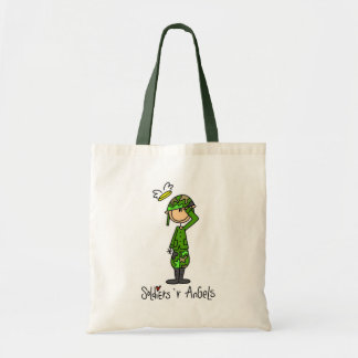 Stick Figure Soldier Man Tote Bag