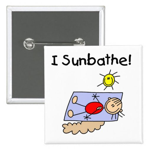 Stick Figure Sunbather Tshirts and Gifts Pin
