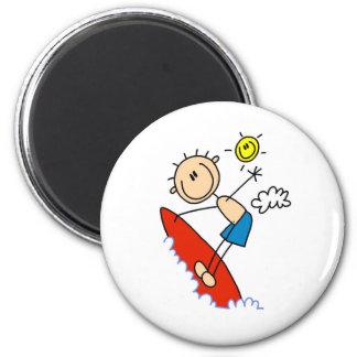 Stick Figure Surfer Boy Button 2 Inch Round Magnet
