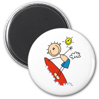 Stick Figure Surfer Boy Button Fridge Magnet