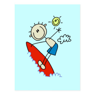 Stick Figure Surfer Boy Tshirts and Gifts Postcard