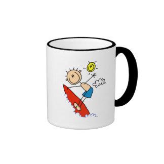 Stick Figure Surfer Boy Tshirts and Gifts Ringer Coffee Mug
