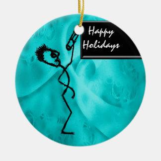 Stick Figure Teacher - Man Double-Sided Ceramic Round Christmas Ornament