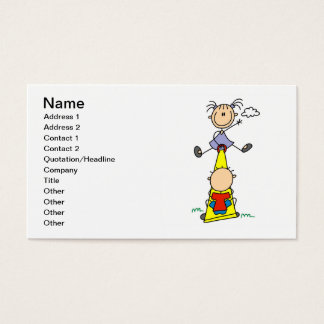 Stick Figure Teeter Totter Business Cards