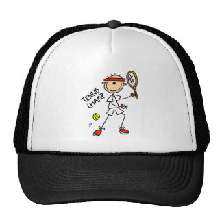 Stick Figure Tennis Champ Men Baseball Cap Trucker Hat
