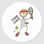 Stick Figure Tennis Champ Men Stickers
