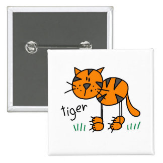 Stick Figure Tiger T-shirts and Gifts Pinback Button