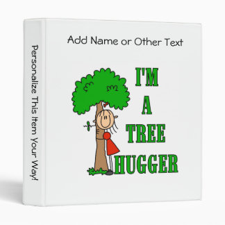Stick Figure Tree Hugger T-shirts and Gifts 3 Ring Binder