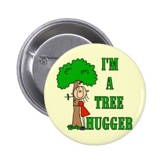 Stick Figure Tree Hugger T-shirts and Gifts Pin