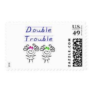 Stick Figure Twin girls Postage Stamp