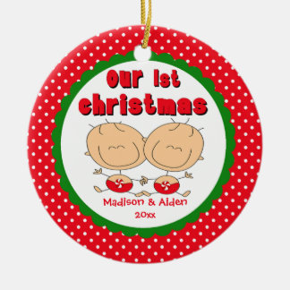 Stick Figure Twins Baby s First Christmas Ornament