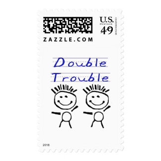 Stick Figure Twins Stamp