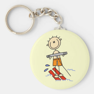 Stick Figure Water Skiing Tshirts and gifts Basic Round Button Keychain