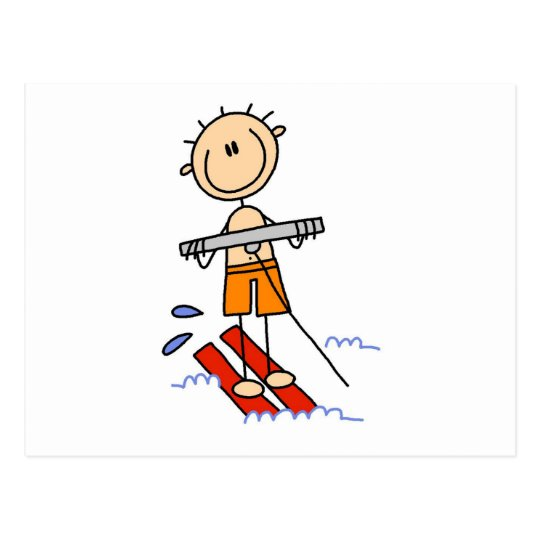 Stick Figure Water Skiing Tshirts and gifts Postcard