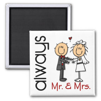 Stick Figure Wedding Couple Mr. & Mrs. Always 2 Inch Square Magnet
