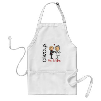 Stick Figure Wedding Couple Mr. & Mrs. Always Adult Apron