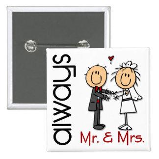 Stick Figure Wedding Couple Mr Mrs Always Pins