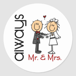 Stick Figure Wedding Couple Mr. & Mrs. Always Classic Round Sticker
