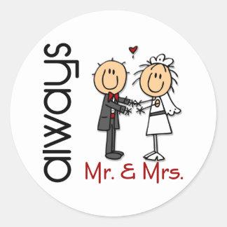 Stick Figure Wedding Couple Mr. & Mrs. Always Classic Round Sticker
