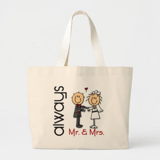 Stick Figure Wedding Couple Mr. & Mrs. Always Large Tote Bag