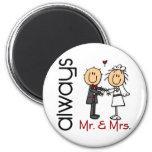 Stick Figure Wedding Couple Mr. & Mrs. Always Fridge Magnets