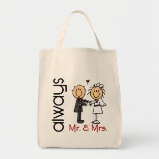 Stick Figure Wedding Couple Mr. & Mrs. Always Tote Bag
