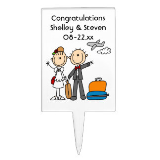 Stick Figure Wedding Honeymoon T-shirts and Gifts Cake Topper