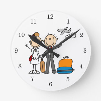 Stick Figure Wedding Honeymoon T-shirts and Gifts Round Clock