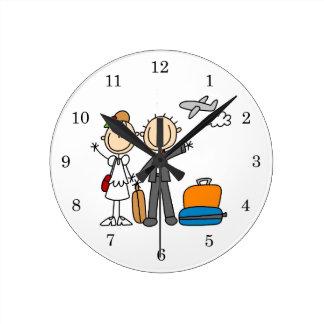 Stick Figure Wedding Honeymoon T-shirts and Gifts Round Clock