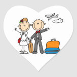 Stick Figure Wedding Honeymoon T-shirts and Gifts Heart Stickers