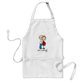 Stick Figure We're Expecting Adult Apron