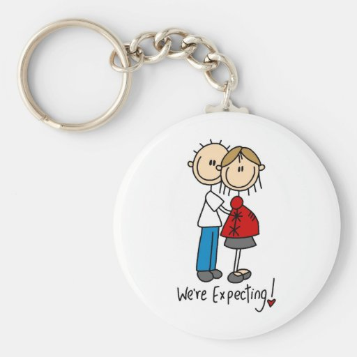 Stick Figure We're Expecting Basic Round Button Keychain