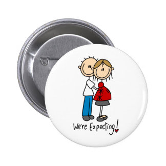 Stick Figure We're Expecting Pinback Button