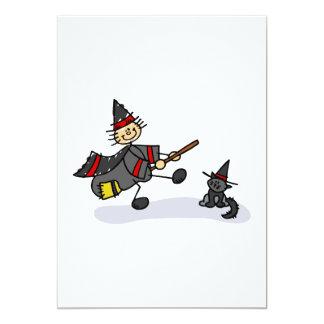 Stick Figure Witch with Cute Cat Custom Invite