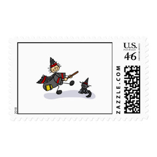 Stick Figure Witch with Cute Cat Stamps