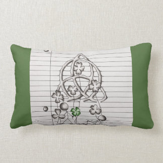 Stick Figure with Clover and Celtic Knot Pillow